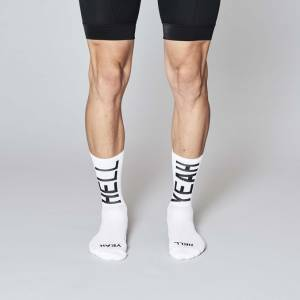 Fingerscrossed Design fietssokken Hell Yeah wit Sockdoping